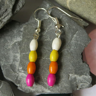 Bright wooden beaded earrings - pink, orange, yellow and white