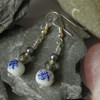 Blue, white and grey earrings