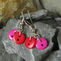 Red and pink plastic button earrings - super cute