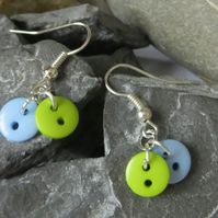 Blue and green button earrings