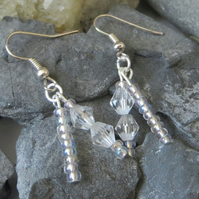 Clear beaded double drop earrings