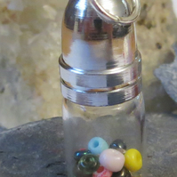 Multi-coloured bead glass bottle pendant