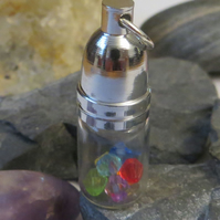 Rainbow coloured bead glass bottle pendant