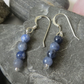 Blue sodalite gemstone and sterling silver earrings