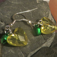 Jingle bell  earrings - yellow heart and green bells