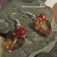 Jingle bell earrings - brown heart and red bells