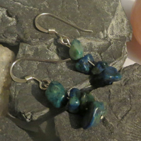 Chrysocolla gemstone chip and sterling silver earrings