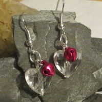 Jingle bell earrings - clear heart and pink bells