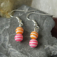 Stripy earrings pink, orange and white beaded earrings