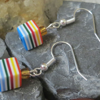 Multi-coloured stripe plastic cube earrings