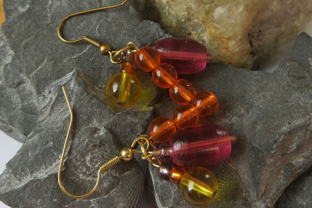 Multi-coloured trio charm drop earrings - pink, orange and yellow