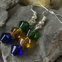 Jewel trio beaded earrings - green, yellow and blue
