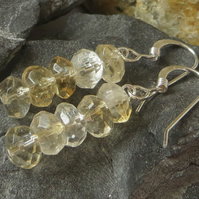 Citrine bead and sterling silver earrings - November birthstone