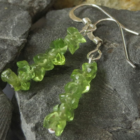 Peridot gemstone chip and sterling silver earrings - August birthstone - green