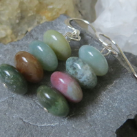 Green agate and sterling silver earrings - multi-colour green tone & pink orange