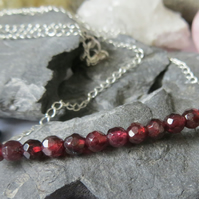 Garnet And Sterling Silver Necklace - Faceted Deep Red Beads January Birthstone