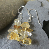 Citrine chip beads and sterling silver earrings - November birthstone, yellow