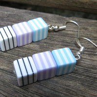 'Liquorice Allsort' plastic cube trio drop earrings - blue purple black & white