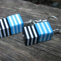 Stripy cube earrings black white and blue plastic cube