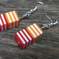 Stripy earrings red, orange and white beaded earrings