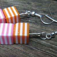 Cute stripy cube beaded earrings, pink, orange and white