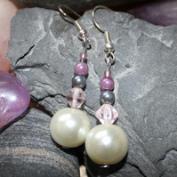 'Pearl' earrings - cream, pink, purple and grey beaded earrings