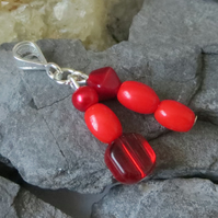 Red double drop beaded pendant - oval, round and bicone beads