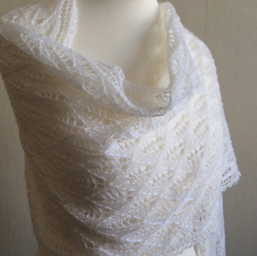 Hand Knitted Lace Wedding Shawl