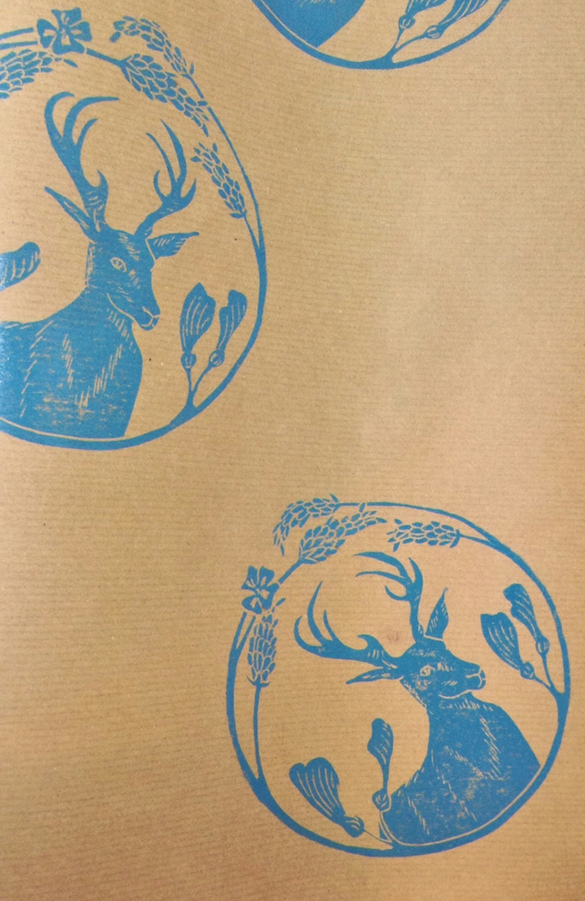 Hand Printed Stag Wrapping Paper