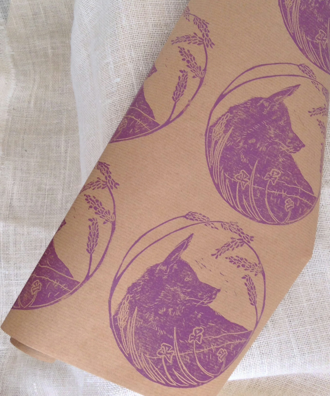 Hand Printed Fox Wrapping Paper