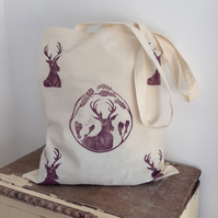 Hand printed Stag Tote