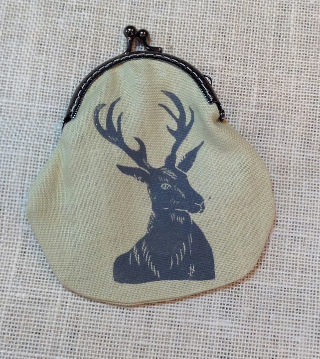 Hand printed Stag Coin purse