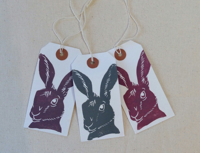 Hand printed hare tags