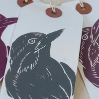 Hand printed bird gift tags