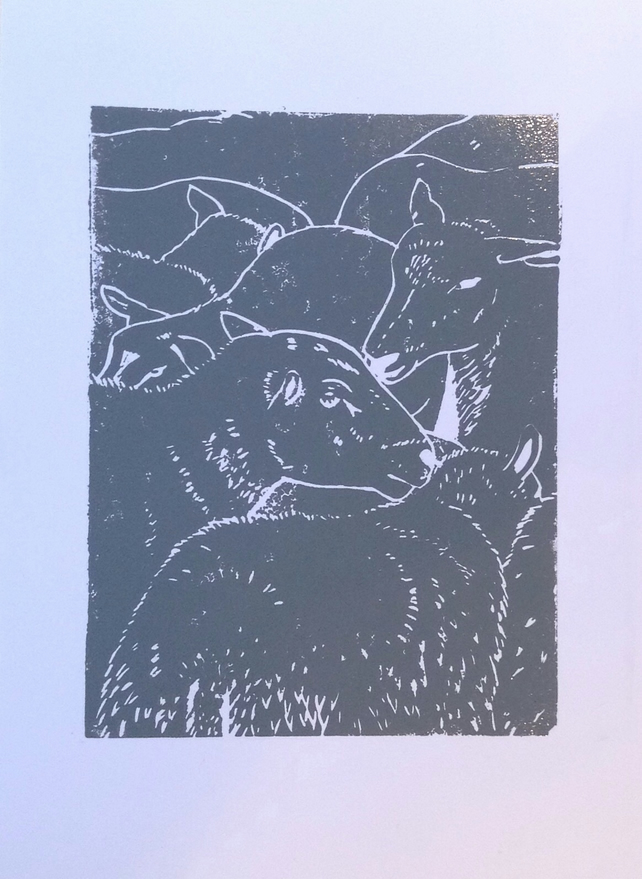 Sheep Lino print