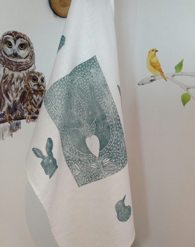 Linen hare printed tea towel