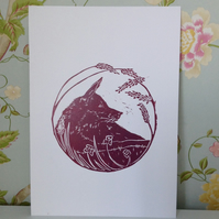 Original linocut Fox in the Forest print