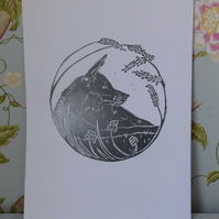 Fox in the Forest linocut original print, soulful grey