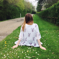 Hand Printed hares on a cotton cover up