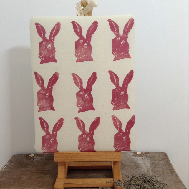 Lino printed Hares artwork infused with lavender blossom