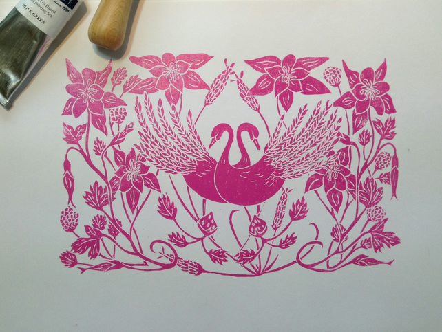 Love is in the details Lino print