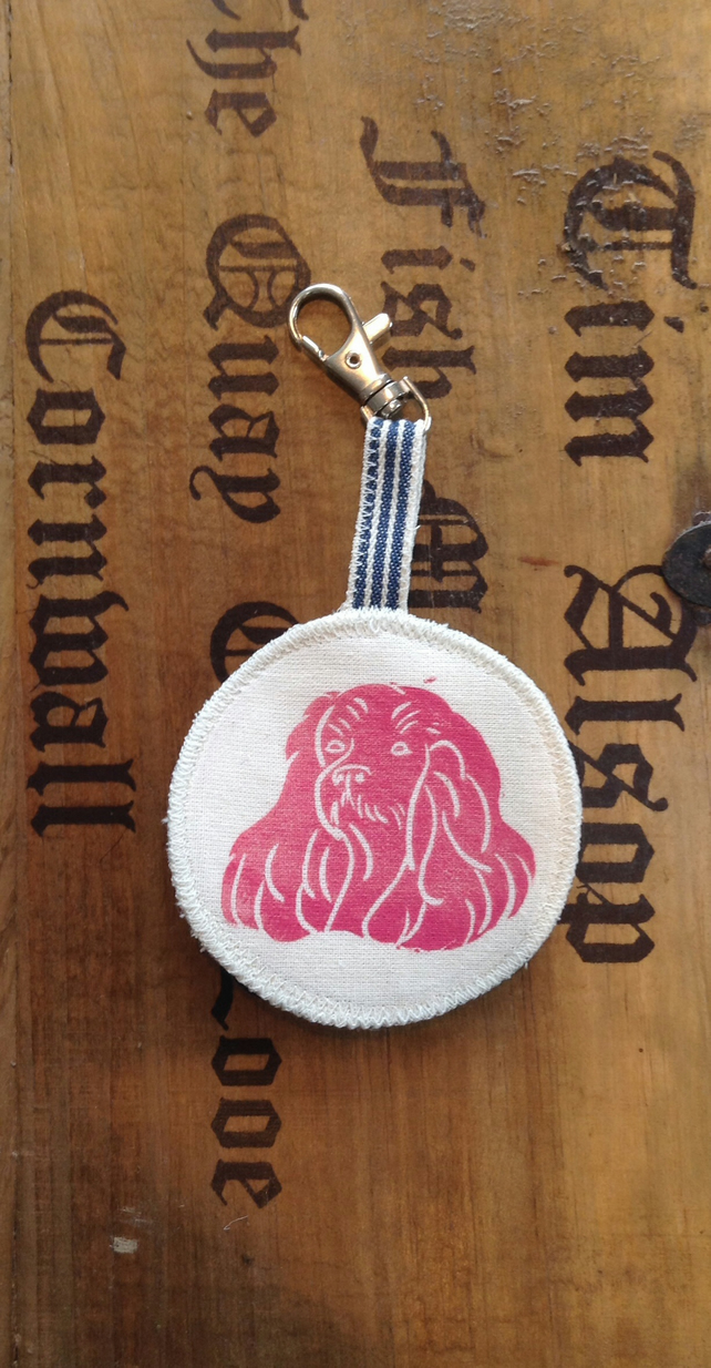 Hand printed dog keyring
