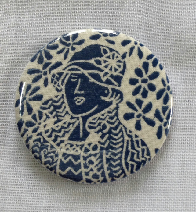 Hand printed pocket mirror