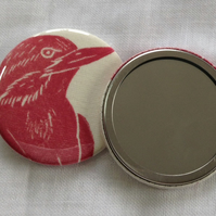 Hand Printed Bird Pocket Mirror