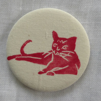 Hand Printed Cat Pocket Mirror