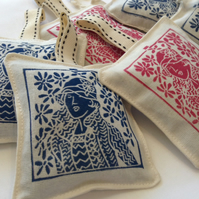 Hand Printed Lavender Sachet in Blue