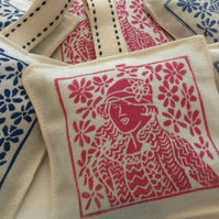 Hand printed Lavender Sachet in Rose