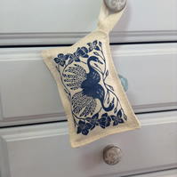 Hand Printed Blue Reflections Lavender Sachet