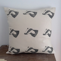 Hand printed grey badger cushion cover