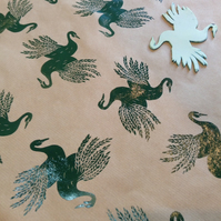 Hand printed Swan Gift Wrap